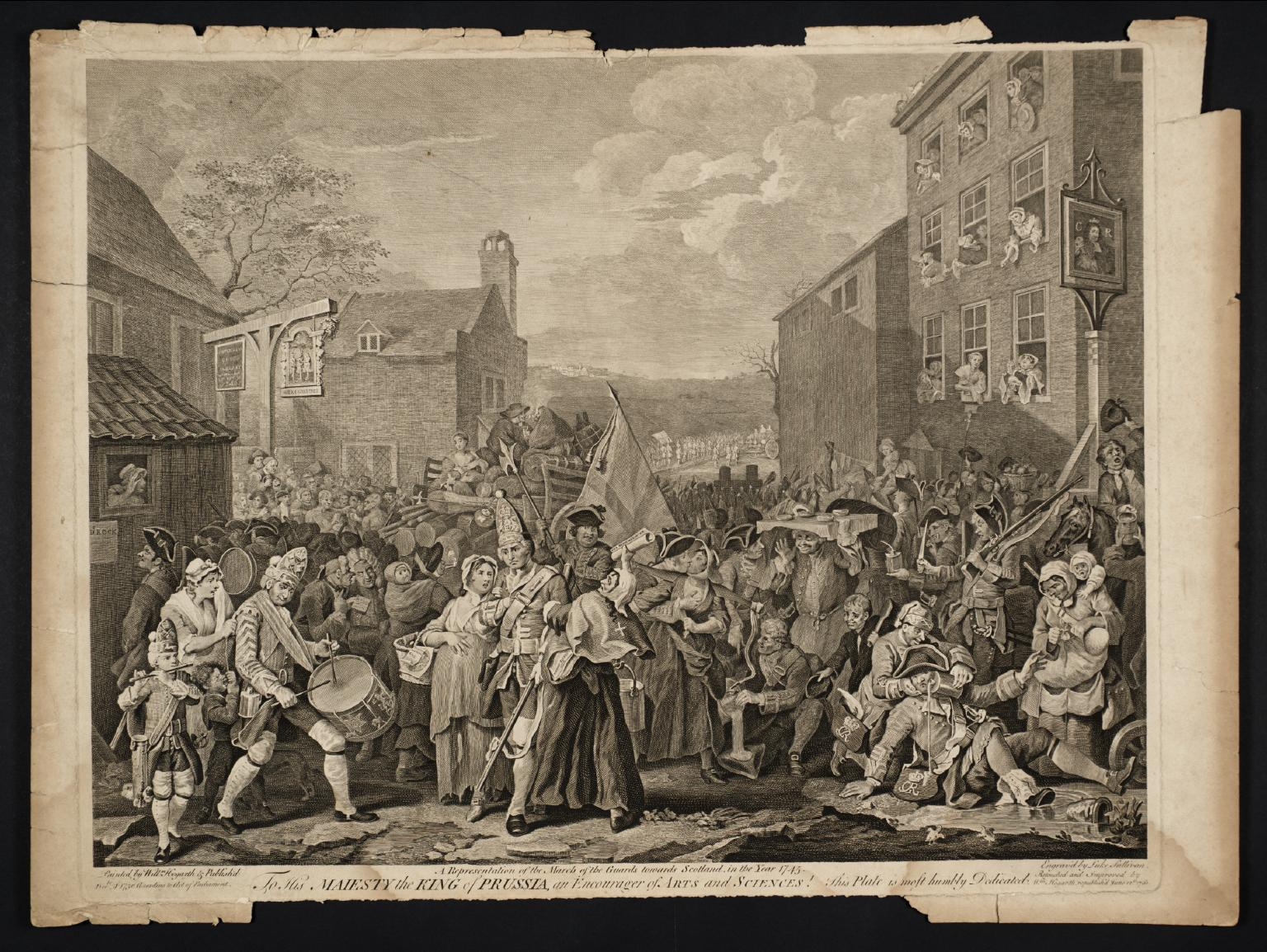 The March to Finchley 1750-61 by William Hogarth and Luke Sullivan 1697-1764, 1705-1771